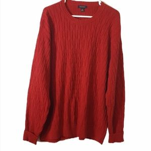 Club Room Red Cotton Cable Knit Sweater